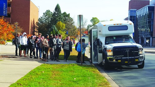 Students board the Stout bus to get where they need to go.