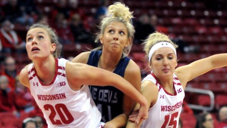Jenna Goldsmith (Sr, St. Anthony, Min) battling for the ball during the exhibition that UW-Stout played against UW-Madison at the Kohl Center on November 8th.