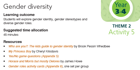 Gender diversity yr 3-4