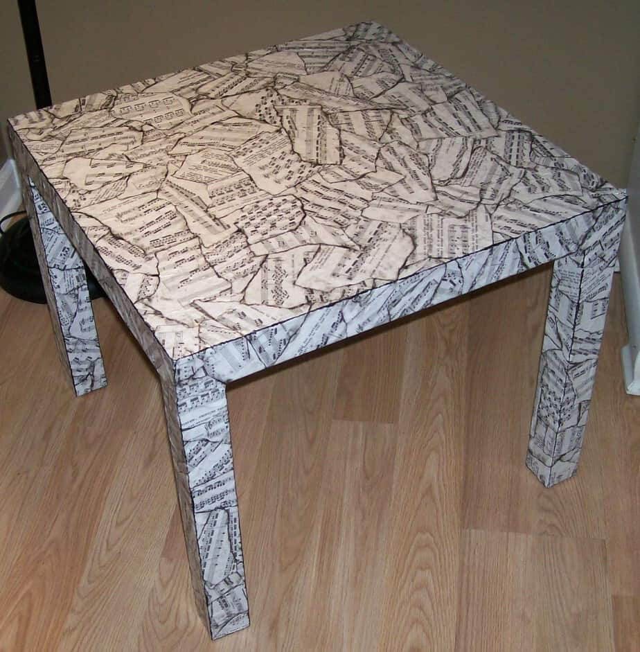 ikea sheet music table makeover with decoupage