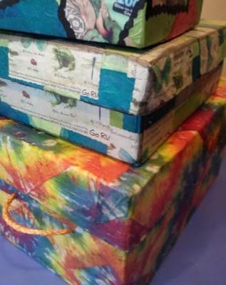 Tie-Dyed Napkin Decoupage Storage Box with Lid