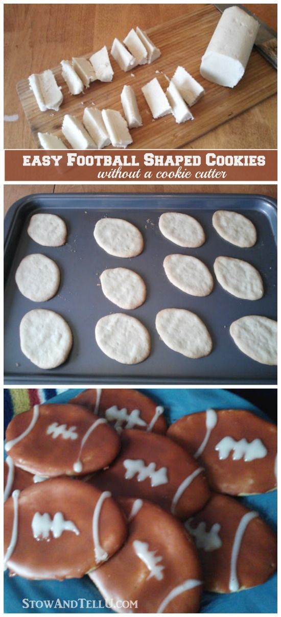Easy to make football shaped cookies using a roll of sugar cookie dough, no cookie cutter is needed - StowandTellU.com