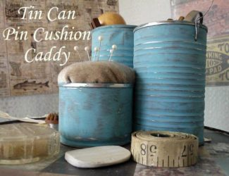 Repuposed tin can sewing caddy | pin cushion sewers caddy | stowandtellu