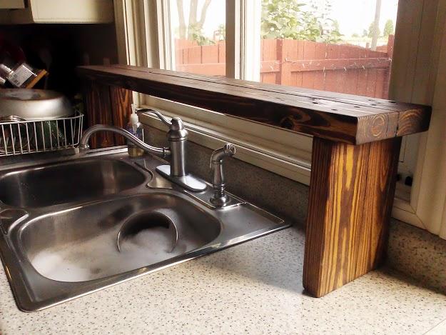 Pallet Wood OvertheSink Window Shelf Kitchen Update 5