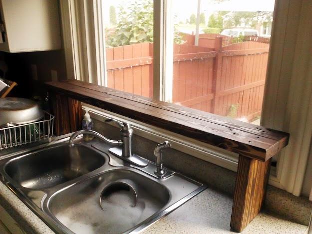 Pallet Wood Overthesink Window Shelf (kitchen Update 5
