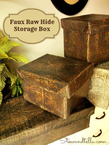 Raw Hide Faux Leather Storage Box With Lid Stow Amp Tellu
