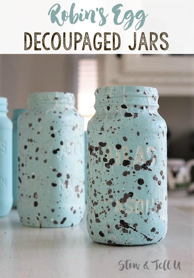 Robins Egg decoupaged speckled jars   stowandtellu.com