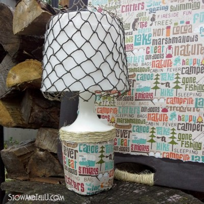 Decoupaged Camping Lamp