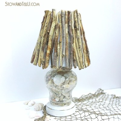 Coastal Inspired DIY Twig Lamp Shade