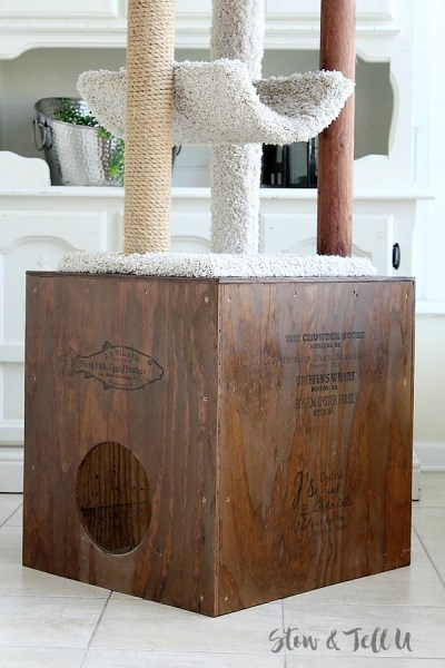 Crate style DIY Wood Cat Cubby House | stowandtellu