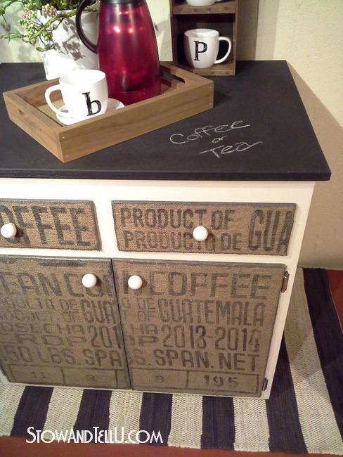 DIY Decoupaged Coffee Sack Furniture Cabinet  StowTellU