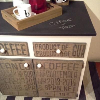 DIY Decoupaged Coffee Sack Furniture Cabinet