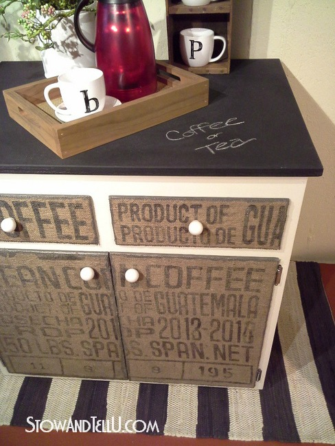 salvaged kitchen cabinets finance diy decoupaged coffee sack furniture cabinet | stow&tellu
