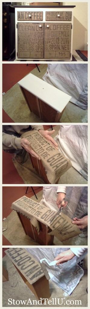 how-to-decoupage-burlap-coffee-sack-furniture-cabinet-http://www.stowandtellu.com