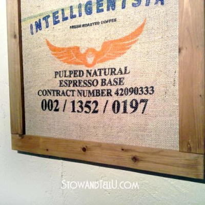 Pallet Wood Framed Coffee Sack Art