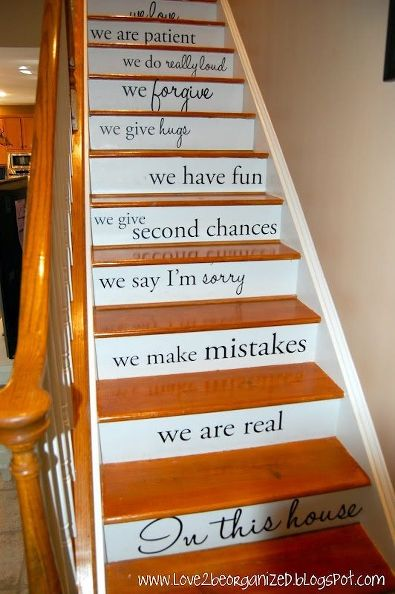 There So Many Ways To I Could Think Of Personalizing This Idea For Our  Stairs, But The Bottom Line Is Using Stencils To Paint Words And Phrases  Onto The ...