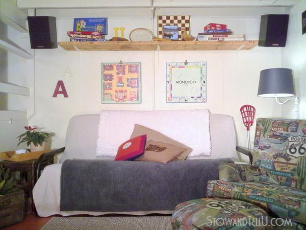 diy-over-the-couch-shelf-basement-gameroom-storage-http://stowandtellu.com