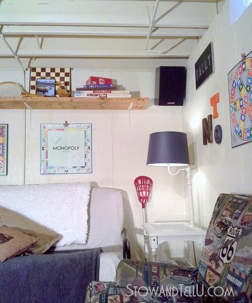 gameroom-decor-shelf-over-couch-http://stowandtellu.com