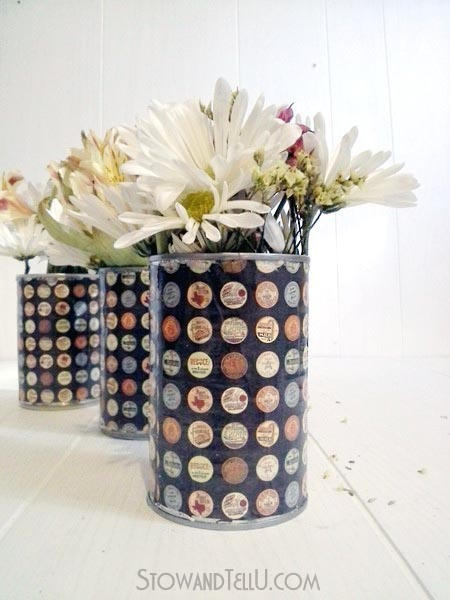 vintage-paper-on-decoupage-tin-cans-http://stowandtellu.com