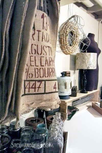 Vintage inspired-craft-room-old-door-table-stowandtellu.com
