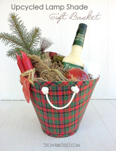 DIY Nautical rope handles on a repurposed lamp shade gift basket - StowandTellU.com