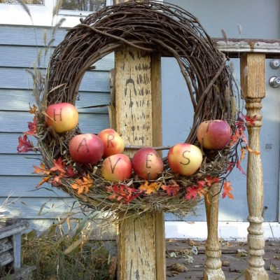 Apple Branch Wreath with Twig Shelf
