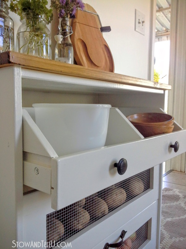 How to make a potato and vegetable storage bin is made / hacked from an Ikea Rast 3 drawer chest by blogger Stow and Tell U. The piece was painted with a Trim, Door and Furniture Paint from Pittsburgh Paints and Stains and Hickory Hardware drawer pulls