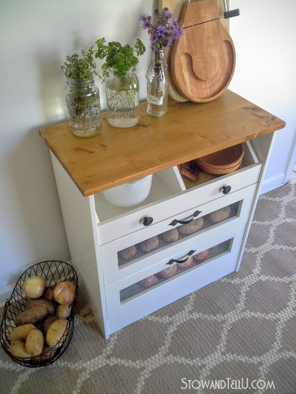 How to make a potato, onion, vegetable storage chest with a 2-bin drawer, made / hacked from an Ikea Rast 3 drawer chest by blogger Stow and Tell U. The piece was painted with a Trim, Door and Furniture Paint from Pittsburgh Paints and Stains and Hickory Hardware drawer pulls