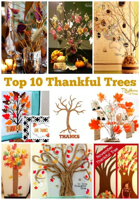 The best part of Thanksgiving for the kids in our family is when we go around the table and get to say what we are thankful for. Here are 10 crafty ways for kids to express their gratitude on Thanksgiving. Top-10-Thankful-Trees-rythmsofplay