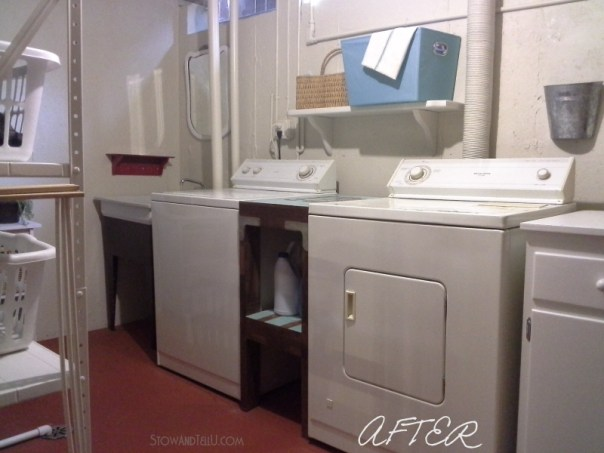 "Basement laundry room updated done almost exclusively with paint, several diy repairs and a ""use what you have"" approach from Stow and Tell U"