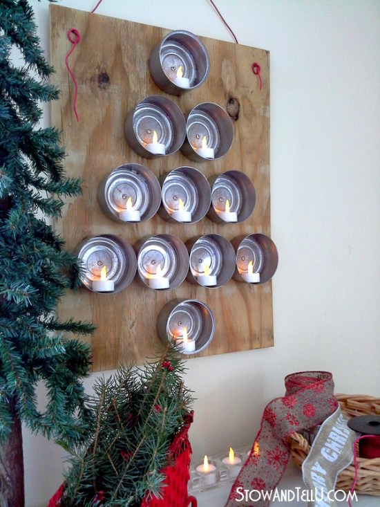 Tuna Can Christmas tree with flickering flameless tealights.
