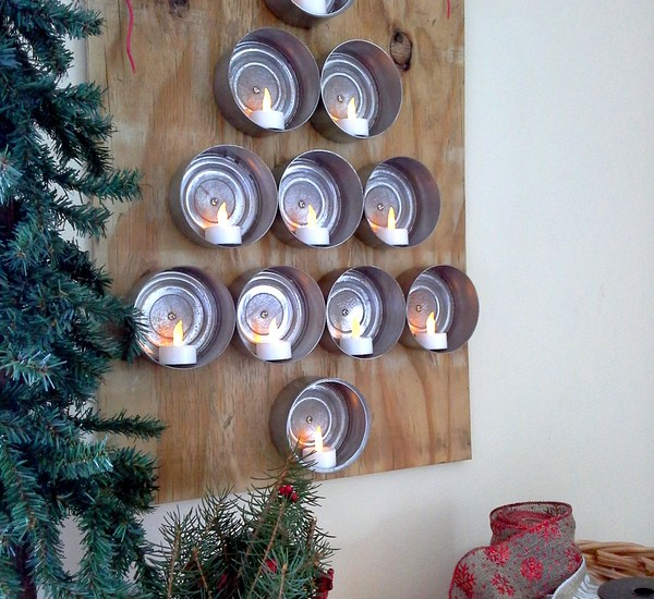 Tuna Can Christmas tree using flickering flameless tealights. Great for small space living, a bachelor pad, minimalist or industrial Christmas decor from Stow and Tell U