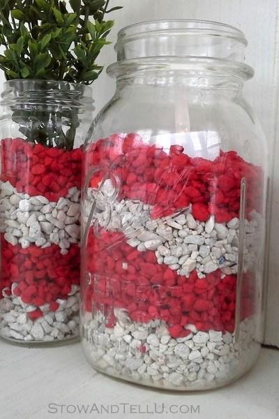 Aquarium Gravel Filled Valentine Jars