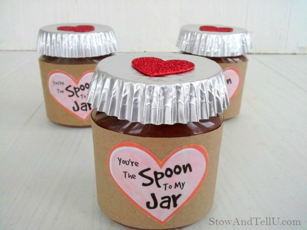 "Valentine jar gift idea using Peanut butter chocolate spreads. Includes ""You're the Spoon to my Jar"" printable from Stow and TellU.com"