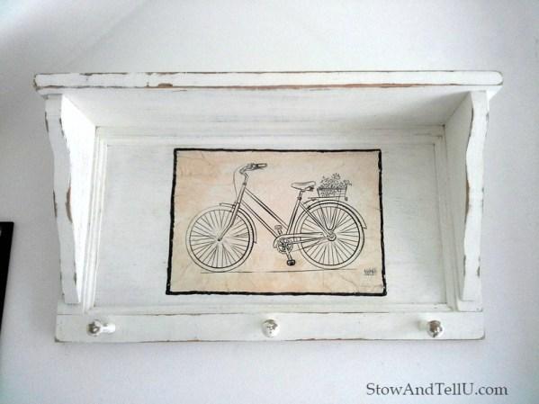 bicycle-print-decoupage-coat-rack-shelf-StowAndTellU.com