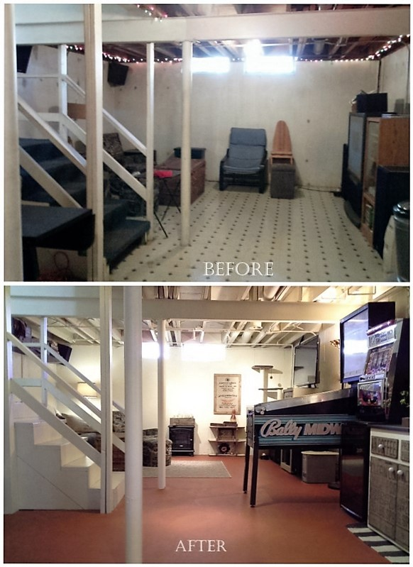 Open floor plan/Loft style basement makeover: Walls are taken down and everything in the basement is painted for a total cost of $1200 - StowandTellU.com