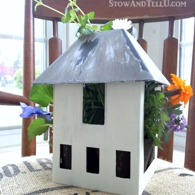 Miniature House Upcycled as a Planter