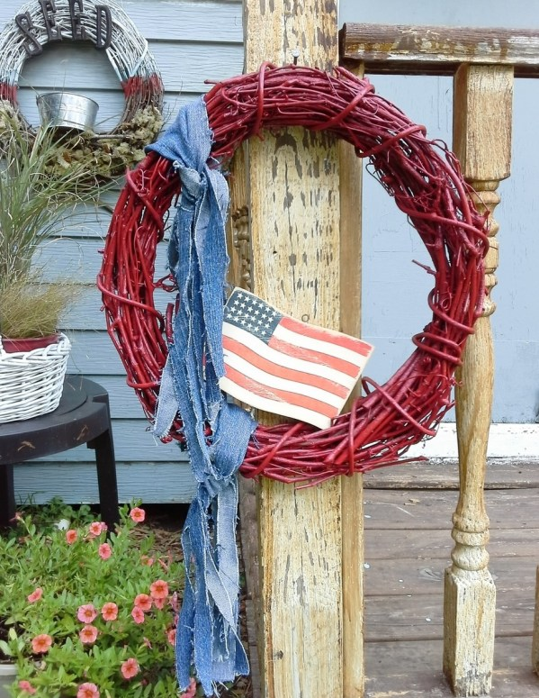 4th of july ideas decor- red painted blue jean wreath - StowAndTellU.com