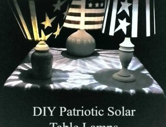 Create a patriotic, outdoor, nighttime ambiance by turning old lamps and stained lamp shades into solar powered table lamps - StowandTellU.com