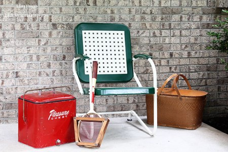 Vintage Metal Chair With Painted Sign Stow Amp Tellu