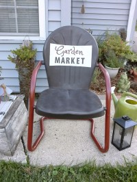 Vintage Metal Chair with Painted Sign | Stow&TellU