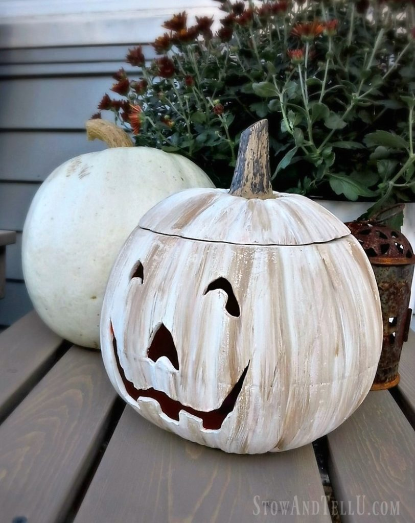 Jack-o-lantern : jack-o-lantern, White, Painted, Lantern, Porch, Update, {YardWorkation