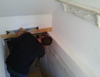 Entryway stairwell $100 Room Challenge - StowandTellU.com