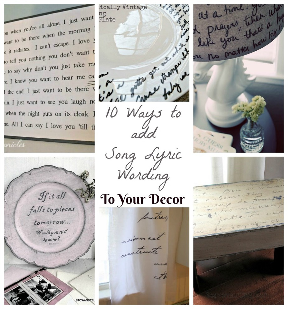 10 DIY Song Lyric Wording Decor Ideas for the Home