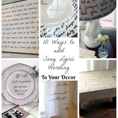 10 Song Lyric Wording Decor Ideas