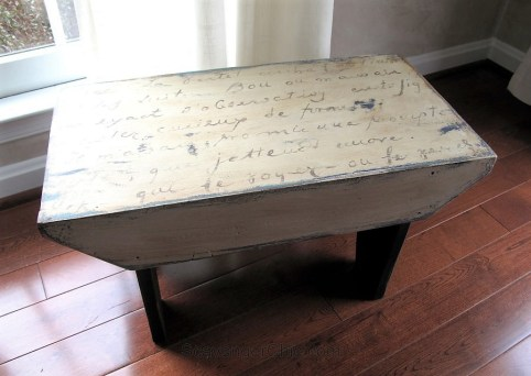 Put song lyric wording on bench - Country-Stool-Makeover-with-French-letter-transfer-ScavengerChic