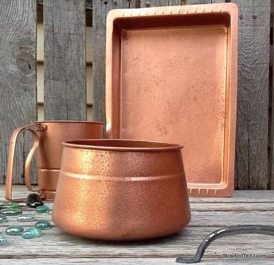 copper and green decor - diy hammered copper paint   StowAndTellU.com