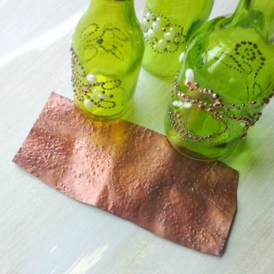 Green glass and hammered copper | StowAndTellU.com