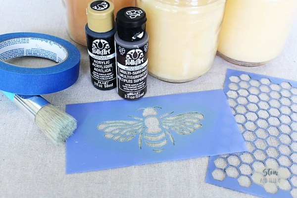 Make bee jar candles. Bee and honeycomb stencil | stowandtellu.com