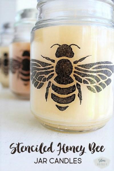 DIY Stenciled honey bee dollar store jar candle craft   Stowandtellu.com